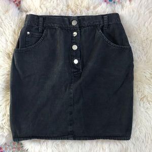 Vintage Button Up Black Jean Skirt